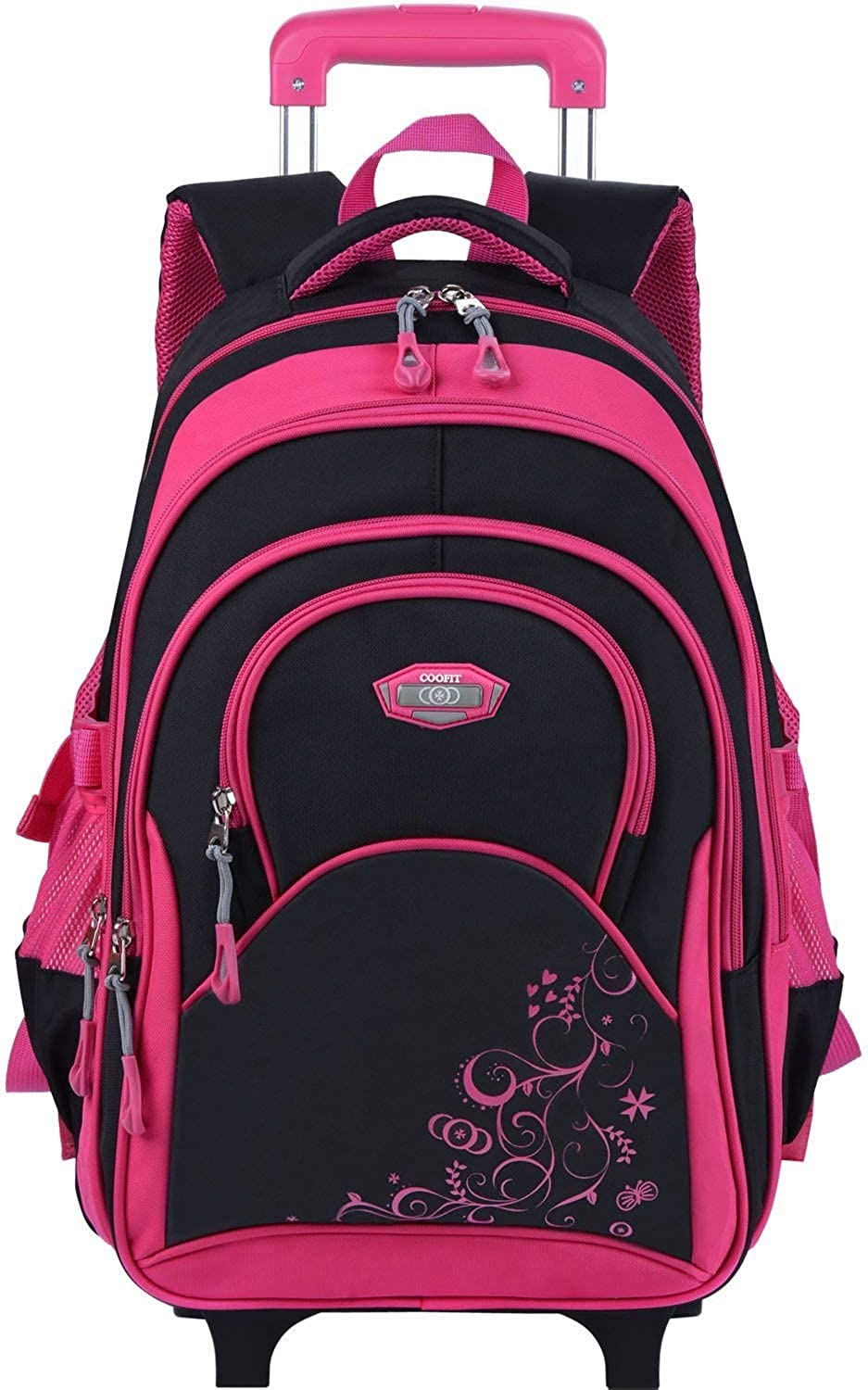 Coofit Design Rolling Backpack for Women Kids School Backpack with Roller Wheeled Laptop Backpack 14in