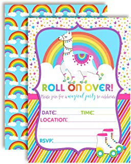 Colorful Llama Rainbow Roller Skating Birthday Party Invitations, 20 5