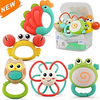 HOLA Baby Rattle Sets Teether Rattles Toys Grab and Spin Shaker Early Educational Sensory Teething Toys with Storage Box G...