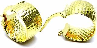 Orecchini Oro Giallo 18kt (750) Anelle Cerchio Cerchietti Fascia Larga Donna Ragazza