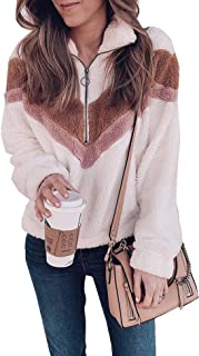 Murimia Women's Warm Winter Long Sleeve Color Block Zip Faux Shearling Fuzzy Oversized Sweatshirt Pullover Coat with Pockets
