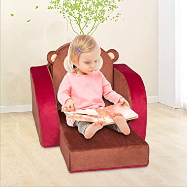 Kinsuite Kids Sofa Children Couch Fold Out Armrest Chair Toddler Lounge Bed 3 in 1 Flip Open Foam Sofa for Bedroom, Living Ro