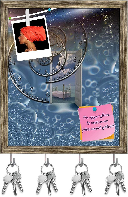 Artzfolio Eternal Sleep Key Holder Hooks   Notice Pin Board   Antique golden Frame 16 X 19.5Inch