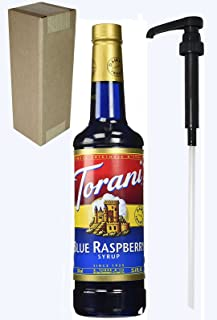 Torani Blue Raspberry Flavoring Syrup, 750mL (25.4 Fl Oz) Glass Bottle, Individually Boxed, With Black Pump