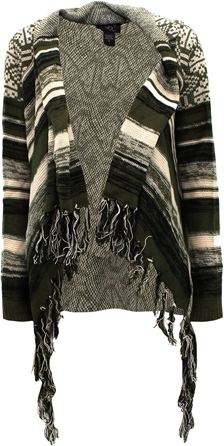 Hooked Up by IOT Women's Aztec Cardigan Sweater; Green, Ivory & Black (Small)