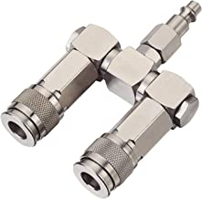 FIXSMITH Air Hose Connector- 3pc Swivel Dual Air Coupler Kit, 2 Way Air Hose Splitter,1/4 In NPT,Compressor Swivel 360 Degrees Connectors.