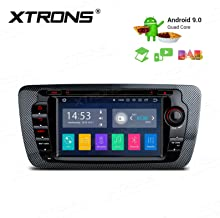 XTRONS Android 9.0 Car Stereo Radio DVD Player GPS Navigation 7 Inch Touch Display Double Din Head Unit Supports WiFi Bluetooth 5.0 Backup Camera DVR OBD TPMS Full RCA Output for SEAT Ibiza MK4/6J
