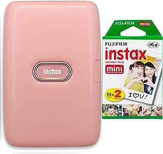 Fujifilm Instax Mini Link Smartphone Printer + Fujifilm Instax Mini Instant Film (20 Sheets) Bundle with Sturdy Tiger Stic...