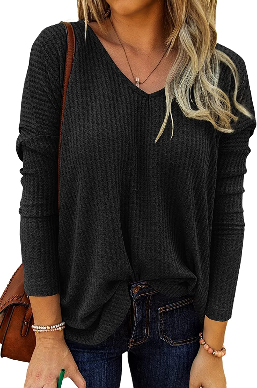Dokotoo Women's Causual V Neck Short Sleeve Shirts Waffle Knit Loose Tunic Tops Blouses