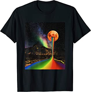 LGBTQ Pride Flag - Rainbow Road - Surreal Moon - Collage Art T-Shirt