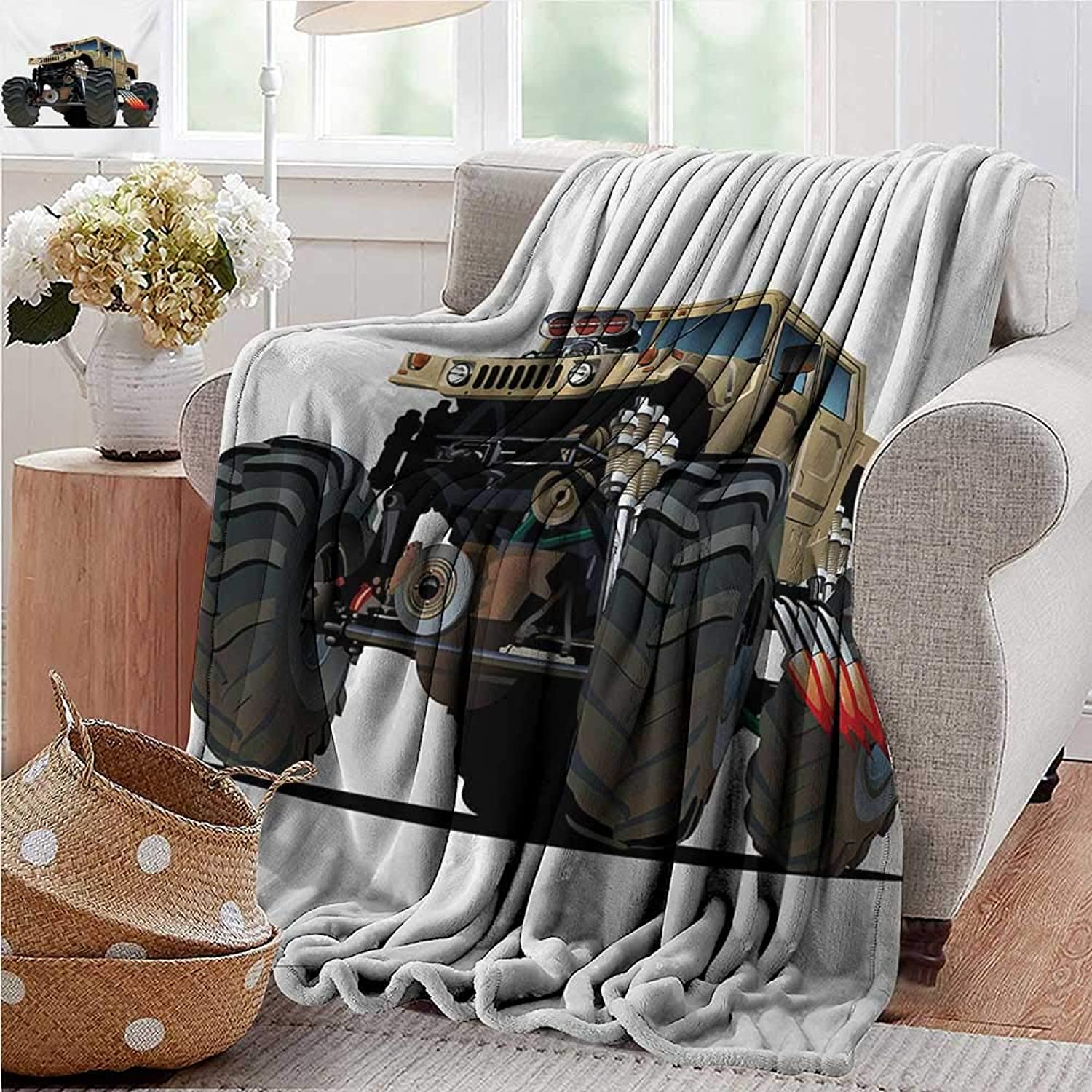 XavieraDoherty Swaddle Blanket,Cars,Extremely Large Giant Monster Pickup Truck with Huge with Oversized Tires Race Illustration,Multi,Lightweight Extra Soft Skin Fabric,Not Allergic 50 x60