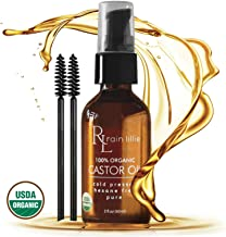 Organic Castor Oil for Hair Growth - Eyelash Growth Serum, Natural Hair Regrowth - Best for Hair Loss Treatment for Eyebrows, Lashes, Healthy Scalp, Reduces Frizz and Moisturizes Dry Hair, Coldpressed