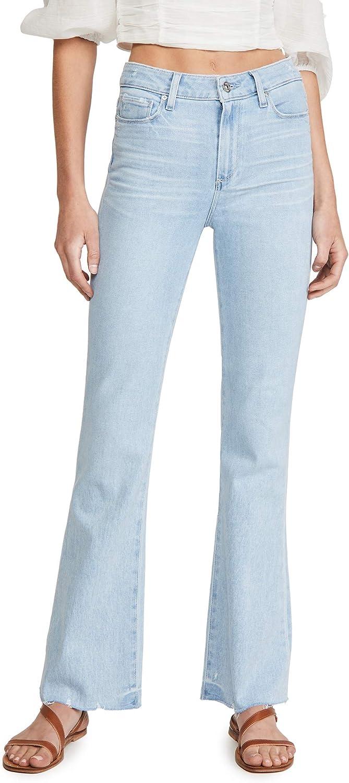 PAIGE Women's Laurel Canyon Transcend Vintage Stretch High Rise Distressed Wide Leg Jean