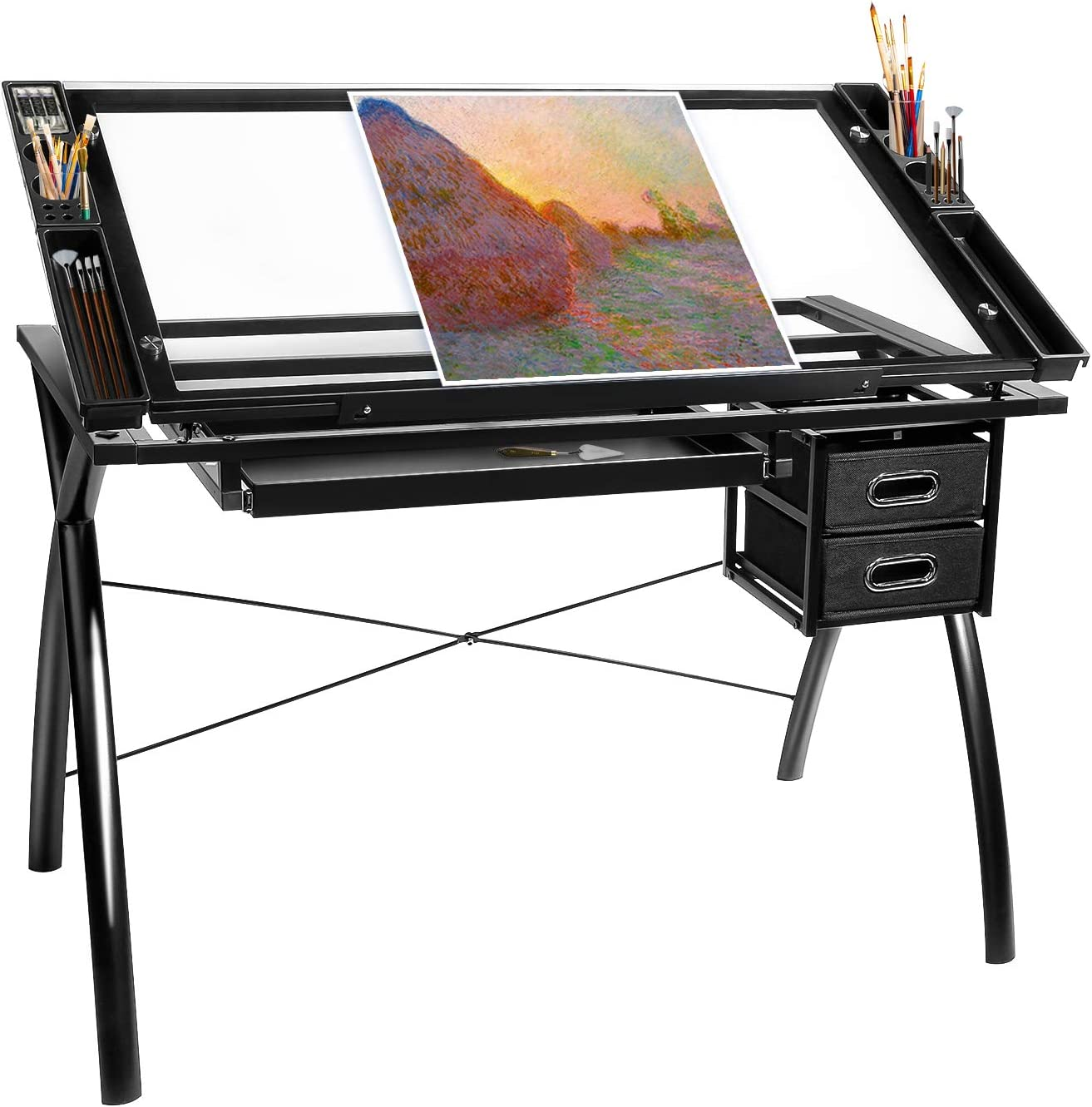 BAHOM Japan's largest assortment Adjustable Drafting Table Glass Top Des Drawing San Francisco Mall Art Craft
