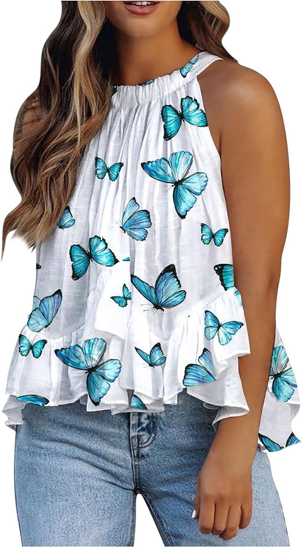 NKAA Women's Sleeveless Summertime Fashion O-Neck Blouse Vest Blouse