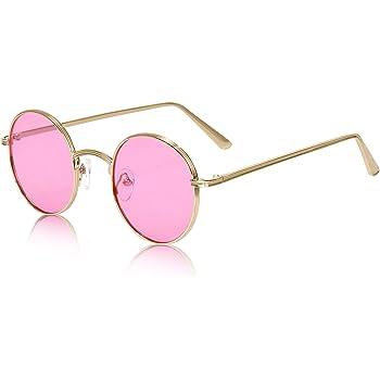 John Lennon Pink Glasses with Gold Frame Hippy 70/'s 80/'s Fancy Dress Sunglasses