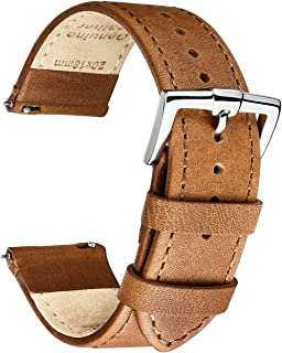 B&E Quick Release Watch Bands Top Smooth Genuine Leather Watch Strap Bracelet for Men & Women - 16mm 18mm 19mm 20mm 22mm 24mm