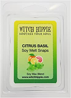 Citrus Basil Scented Wickless Candle Tarts, 6 Natural Soy Wax Cubes, A Citrus Fresh Blend Of Orange & Crisp Ozone With Mid Notes Of Basil, Geranium & Cyclamen, Base Notes Of Musk, Amber & Warm Woods