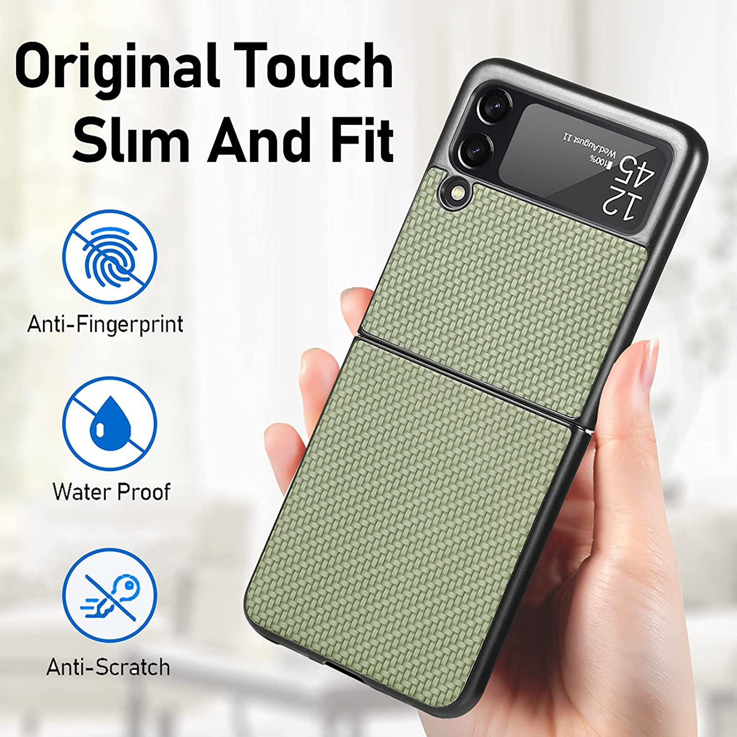 Compatible with Samsung Galaxy Z Flip 3, Silm Premium Fiber Case Lightweight Protective Phone Cover for Z Flip3 5G (2021)