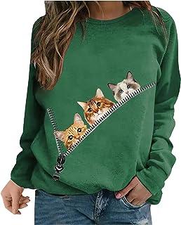 FMYONF Sweatshirt voor dames, zonder capuchon, ronde hals, pullover met basic, Halloween, lange mouwen, bovenstuk, lichte ...