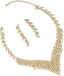 Gold Crystal Rhinestone 3 Rows V Shape Necklace And Matching Dangle Earrings Jewelry Set
