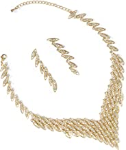 Topwholesalejewel Gold Crystal Rhinestone 3 Rows V Shape Necklace And Matching Dangle Earrings Jewelry Set