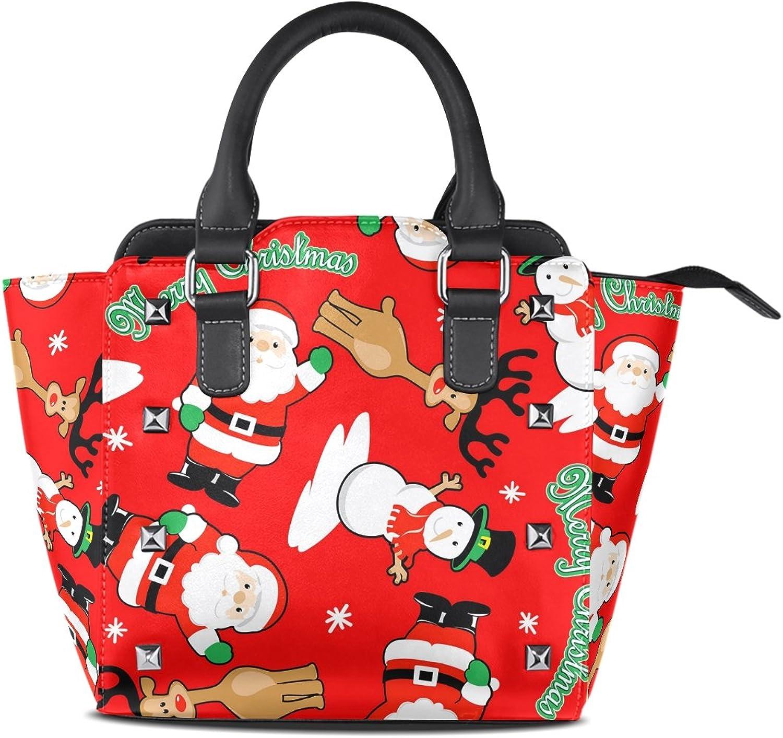 Sunlome Merry Christmas Santa Snowman Deer Print Handbags Women's PU Leather Top-Handle Shoulder Bags