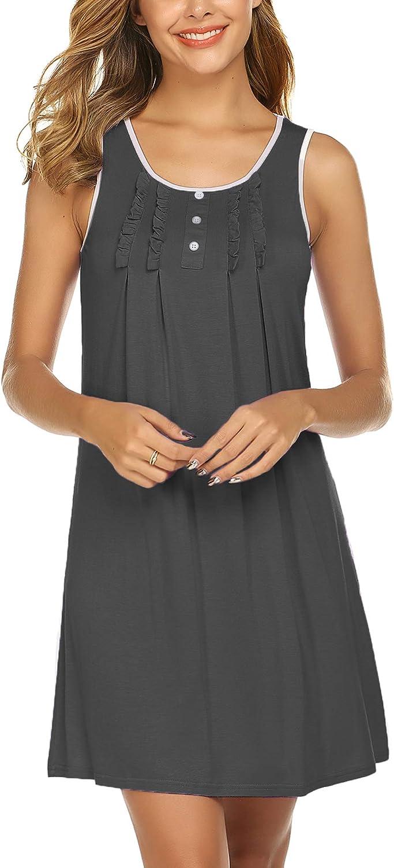 Hotouch Women's Nightgowns Sleeveless Comfy Sleepwear Sleep Shirt Scoopneck Nightshirt S-XXL