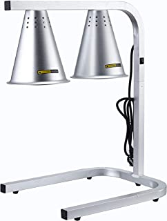 Double Head Food Heat Lamp, With 2 Heat Lamp Bulbs For Food Service Free Standing 120V -Commercial And Household Use- Adjustable - Silver Aluminum Material With Scratch-Resistant Finish. By ChafMaid