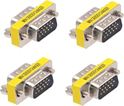 Warmstor 4-Pack HD DB15 VGA Male to Male Coupler, DB15 VGA M/M Mini Gender Changer