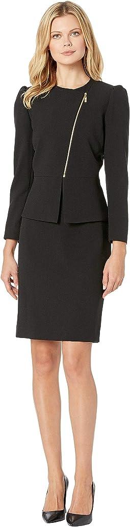 Asymmetrical Zip Front Peplum Skirt Suit