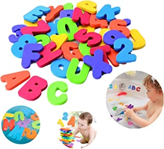 MEHAC Bathtub Foam Letters & Numbers + 2 x Dry Toy Organizer + 5 Strong Hooks | Eco-Friendly Educational Game Soft Alphabe...