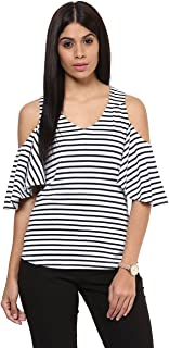 caed9555653 Hypernation White and Blue Stripe Cold Shoulder Cotton T-Shirt for Women