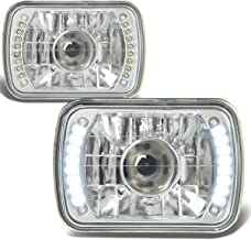 7X6 Inch Glass Lnes Bult-In LED Projector Headlight Lamps Set of 2 - Chrome Housing
