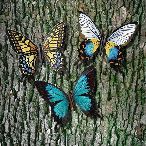 CT DISCOUNT STORE Nature Inspired 3 D Metal Wall Scupture Beautiful Butterflies Trio Home Decor Accent Beautiful Multicolor Pattern Butterfly