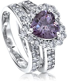 Rhodium Plated Sterling Silver Purple Heart Shaped Cubic Zirconia CZ Statement Halo Engagement Wedding Ring Set 2.82 CTW
