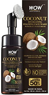 WOW Skin Science Coconut Hydrating Foaming Face Wash with Built-In Face Brush - with Coconut Water - For Cleansing, Soothi...