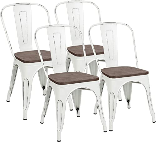 Metal Dining Chairs with Wood Seat, Distressing Tolix Style Indoor-Outdoor Stackable Industrial Chair with Back Set o...