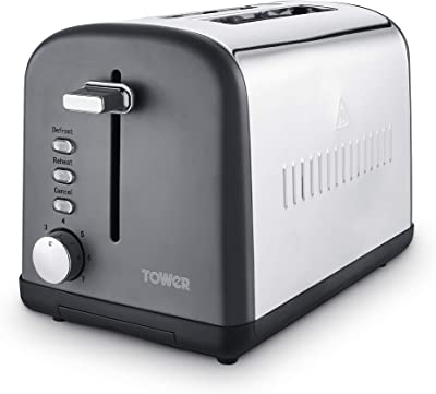 Tower T20041SLT 2 Slice Toaster, Infinity Stone Collection, Stainless Steel Body, 900 W, Slate