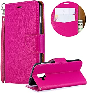 Luxury PU Leather Wallet Case for Samsung Galaxy A6 2018,Flip Folio Case for Samsung Galaxy A6 2018,Moiky Rose Red Multifunctional Magnetic Kickstand Case With Wrist Strap and ID&Credit Cards Slots