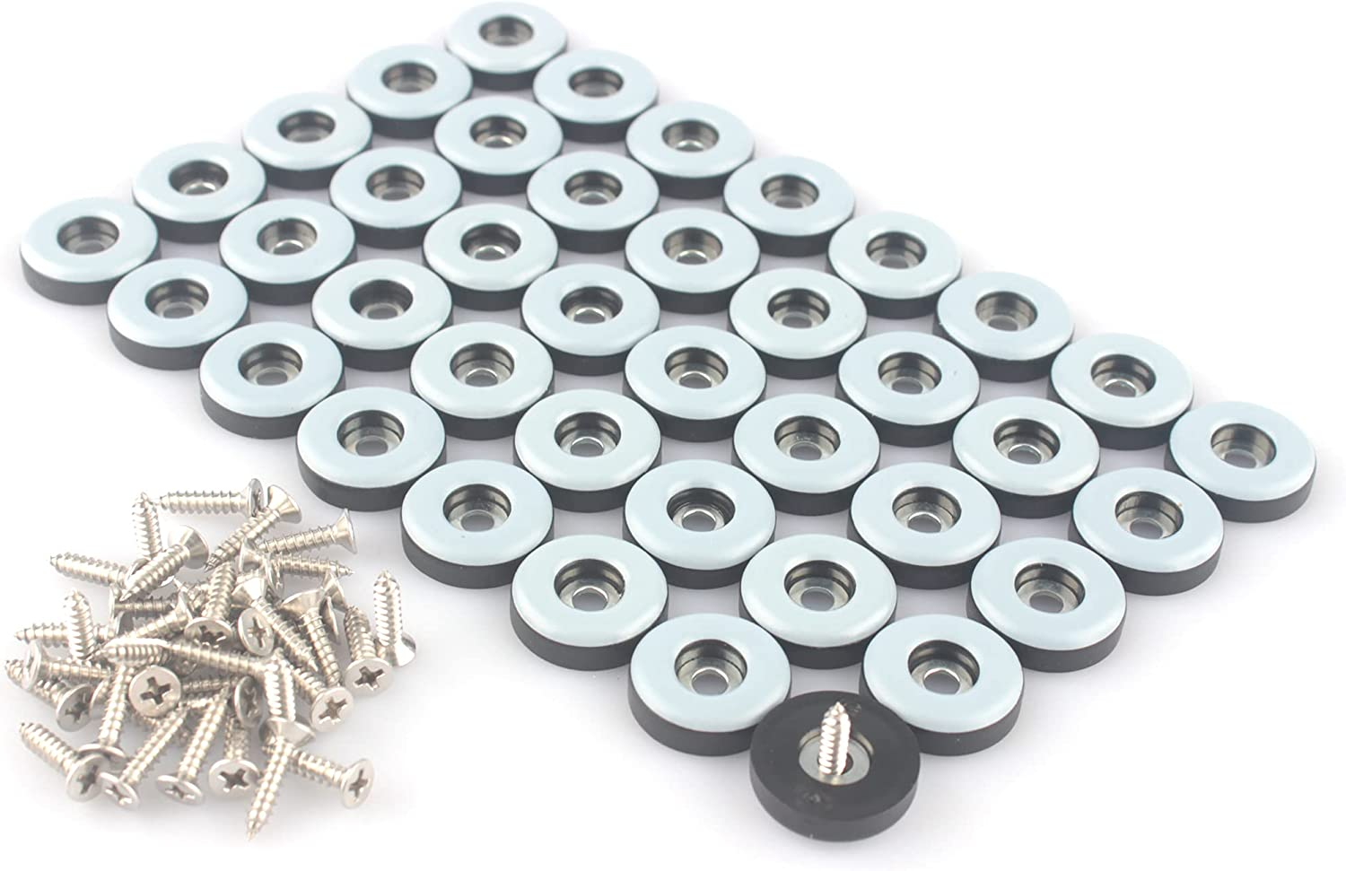 CSFMC Teflon Furniture Sliders Pads(40 Pack 7/8 inch(22mm) Base),Table/Chair/Cabinet/Sofa Small Size PTFE Glides,Stainless Steel Screw on Protect The Floor,Heavy Duty Sliding Block for Furniture