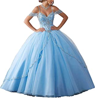 Off Shoulder Beaded Ball Gown Quinceanera Dress Tulle Prom Dress