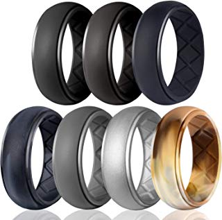Egnaro Silicone Wedding Ring for Men, Particularly Breathable Mens' Rubber Wedding Bands, Size 8 9 10 11 12 13, for Athletes Crossfit Workout
