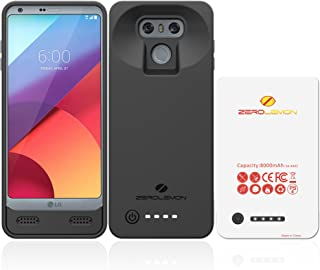 LG G6 Battery Case, ZeroLemon Ultra Power 8000mAh Extended Battery Case Rechargeable Charging Case with Soft TPU Full Edge Protection Case for LG G6– Black