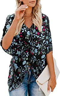Women Summer Chiffon Floral Ruched Knotted Flutter Sleeve Tops