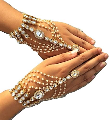 Womensky Stylish Golden/Gold Plated White Hath Phool/Hand Thong/Pearl Bracelet/Finger Ring Bracelet for Women and Girls