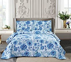 Yc 3-Piece Ink Flower Quilt Set Printed Bedspread Chinese Traditional Painting Flowers Summer Quilt for Full/Queen Size Li...