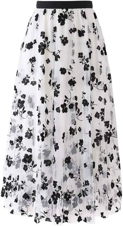 iCODOD Women Tutu Tulle Skirt Elastic High Waist Layered Skirt Fashion Floral Print Mesh A-Line Midi Embroidered Skirt