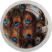 Lade knop Pull handvat 4 stuks Crystal Glass Cabinet lade trekt kast knoppen, prachtige staart veren