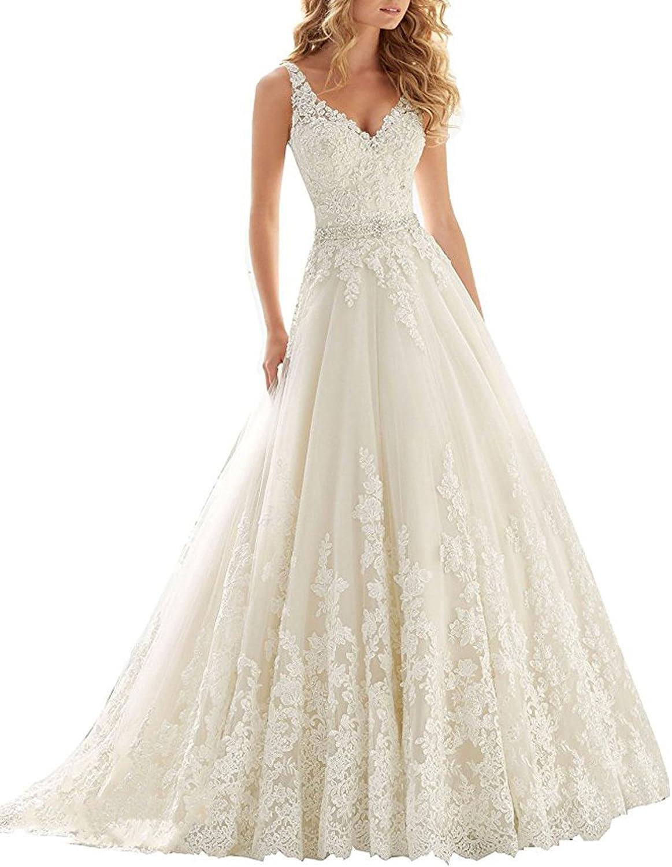 Rjer Women's Double VNeck Lace Applique Empire Chapel Train Wedding Dress